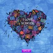Heart I love school — Vector de stock