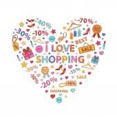 Shopping on white background — Stock Vector