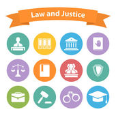 Set of flat law and justice icons — Vecteur