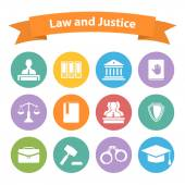 Set of flat law and justice icons — Stock vektor