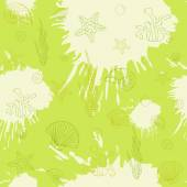 Marine algae,seamless pattern green — Stock Vector
