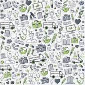 Green Health care pattern.Sticker. — Stock Vector