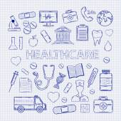 Health care set on the notebook sheet — Stock Vector
