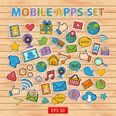 Mobile apps scrap set.Scrapbook set.Sticker. — Cтоковый вектор