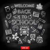 Chalk board Welcome back to school — Vector de stock