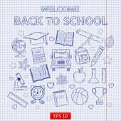 Scrap set Back to school on the notebook sheet  — Stock Vector