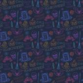 Seamless colorful pattern with Halloween themed elements — Vettoriale Stock