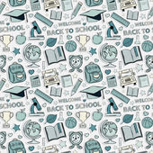 Sticker school pattern. Themed design with different elements — Vettoriale Stock