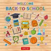 Back to school set.Scrapbook set.Sticker. — Vettoriale Stock