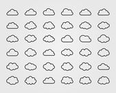 Big vector set of thirty-six cloud shapes — Stock Vector
