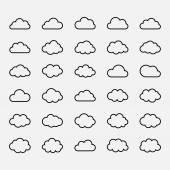 Big vector set black cloud shapes, icons — Stock Vector
