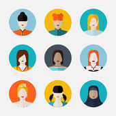 Vector set  of women avatars  in flat style different nationalit — Stock vektor