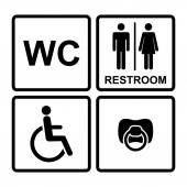 Set of black wc icons on white background in frame — Stock Vector