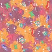 Seamless abstract marine life.Seamless pattern with sea inhabita — Stock Vector