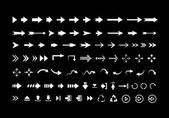 Big set of different vector  white arrows — Wektor stockowy