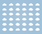 Big vector set of thirty-six white cloud  shapes — Stock Vector