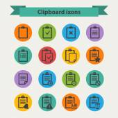 Vector black Clipboard icons set in flat style — Stock Vector