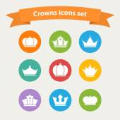 Vector icons set of different  white crowns shapes,signs — Stock Vector
