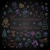 Happy New Year and Merry Christmas color set on a chalk board — Vettoriale Stock
