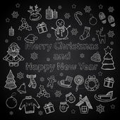 Happy New Year and Merry Christmas set on a chalk board — Vettoriale Stock