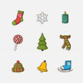 Vector Christmas set icons in doddle style — Stockvector