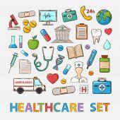 Vector Medical doddle set — Stock Vector