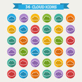 Big vector set of thirty six white cloud  shapes — Stock Vector