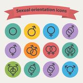 Vector sexual orientation black web icons — Stock Vector