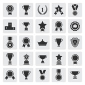 Big set of black vector award success and victory icons — Stok Vektör
