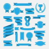 Blue ribbons,medal,award,cup set isolated on white background. — Stock Vector