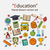 Education hand drawn set — Vector de stock
