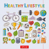 Healthy lifestyle sticker set — Stock Vector