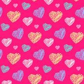 Scribble hearts pattern — Stock Vector