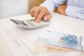 Hands of accountant business man with calculator. Accounting — Stock fotografie