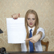 Business woman showing where to sign a contract — Stock Photo #70378285