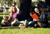 Portrait of international group of students close up smiling, blond girl, asian boy, young african woman — Foto Stock