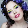 Beauty young woman with flowers and make up close up, real spring beauty — Stock Photo #52752511