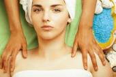 Stock photo attractive lady getting spa treatment in salon, close up asian hands on face — Stock Photo