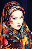 Portrait of contemporary noblewoman with face art creative — Stock Photo
