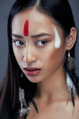 Beauty young asian girl with make up like Pocahontas — Stock Photo