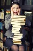 Stock photo portrait of beauty young woman reading book in library — Foto Stock