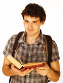 Young handsome men isolated with book and backpack — Stok fotoğraf