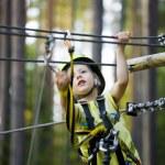Little cute boy in helmet runs track, leisure on nature — Stock Photo #57548835