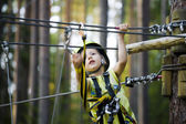 Little cute boy in helmet runs track, leisure on nature — Stock Photo