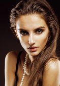 Beauty young  woman with jewellery close up, luxury portrait of rich real girl, party makeup — Stock Photo