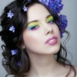 Beauty young woman with flowers and make up close up, real spring beauty girl — Stock Photo #60195139