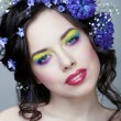 Beauty young woman with flowers and make up close up, real spring beauty girl — Stock Photo #60195177