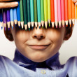 Boy with color pencils — Stock Photo #65048135