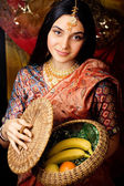 Beauty sweet real indian girl in sari smiling — Stock Photo