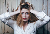 Problem depressioned teenage with messed hair and sad face, real junky — Stock Photo